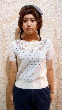 胸元花刺繍サマーニット[1002]