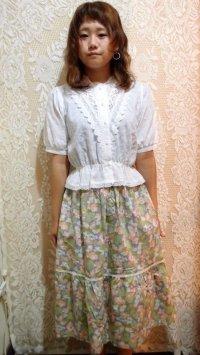 レーステープ切り替え花柄スカート[1095]