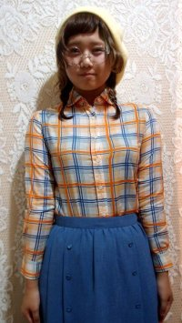 丸襟チェックシャツ[5077]