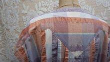 他の写真2: チェック柄 半袖レトロワンピース ノーカラー [52217]
