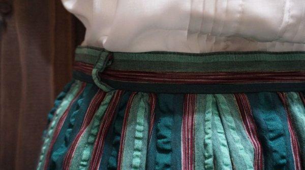 画像3: ストライプ柄 グリーン系 コットン スカート/w62cm [41312]
