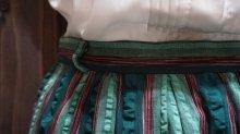 他の写真1: ストライプ柄 グリーン系 コットン スカート/w62cm [41312]