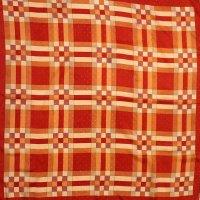 スカーフ レッド系 幾何学柄 77cm×77cm[0502]