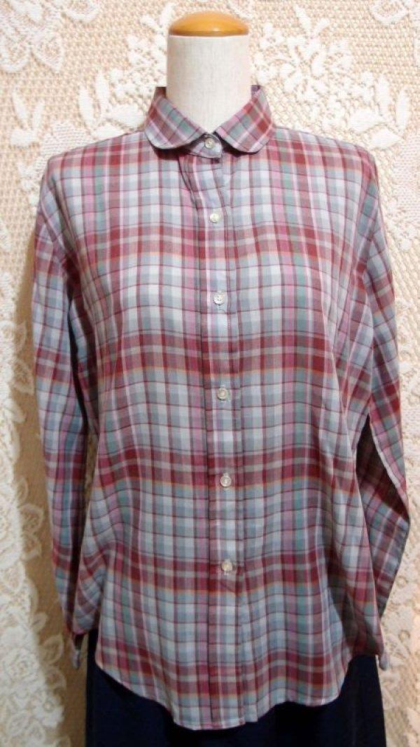 画像4: 丸襟チェックシャツ[5049]