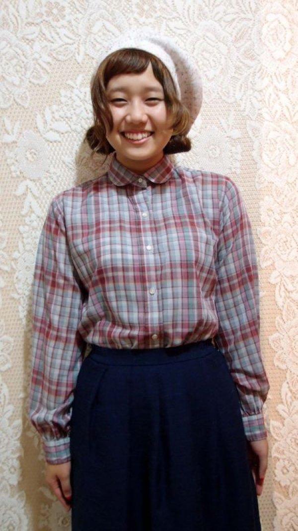 画像1: 丸襟チェックシャツ[5049]