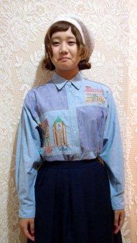 シャンブレー地刺繍シャツ[5048]