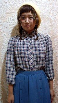 袖ギャザーチェックシャツ[5064]