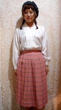 ギンガムチェック刺繍入りスカート  [5042]