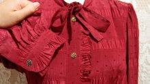 他の写真3: 赤 長袖 レトロワンピース ボウタイ付き[5256]