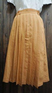 無地 オレンジ スカート プリーツ/w68cm[41384]