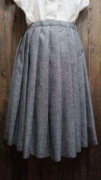 無地 グレー スカート プリーツ/w68cm[41372]