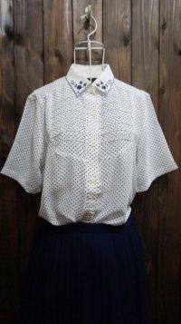 ドット柄  ネイビー 白 ブラウス スカラップカラー 刺繍 [11251]