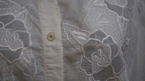 画像4: 無地 コットン 白 半袖ブラウス 刺繍 [11297]