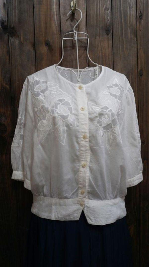 画像1: 無地 コットン 白 半袖ブラウス 刺繍 [11297]