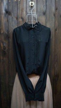 ブラック 黒 長袖ブラウス スカラップカラー 丸襟[15472]