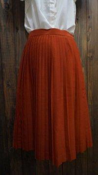 無地 オレンジ スカート プリーツ/w63cm [41584]