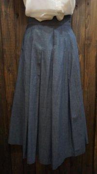 無地 ブルー スカート プリーツ/w64cm [41583]