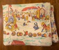 US 海水浴 絵模様 ファブリック 巾110×360cm[1078]