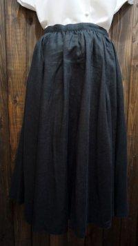 """""""ハナエモリ"""" 無地 ブラック リネン スカート フレア /w63cm [41603]"""