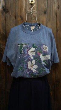 US 鳥 プリント 半袖Tシャツ〔1019〕