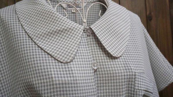 画像2: チェック柄 半袖ブラウス 丸襟[11418]