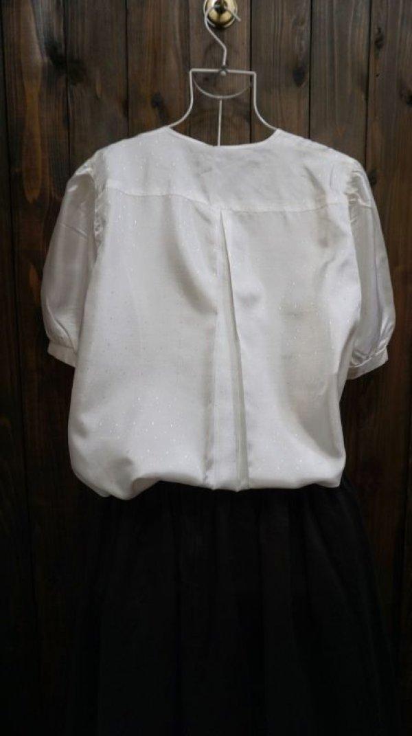 画像2: 白  半袖ブラウス ノーカラー [11484]