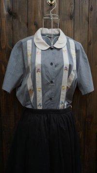 お花刺繍 コットン 半袖ブラウス 丸襟 [11495]