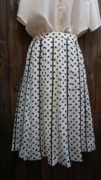 ドット柄 白黒 スカート/ w61cm [41682]