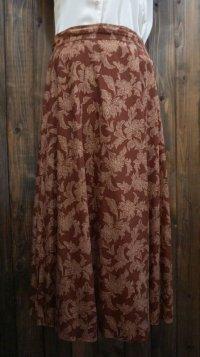花柄 ブラウンスカート /w68cm [41714]