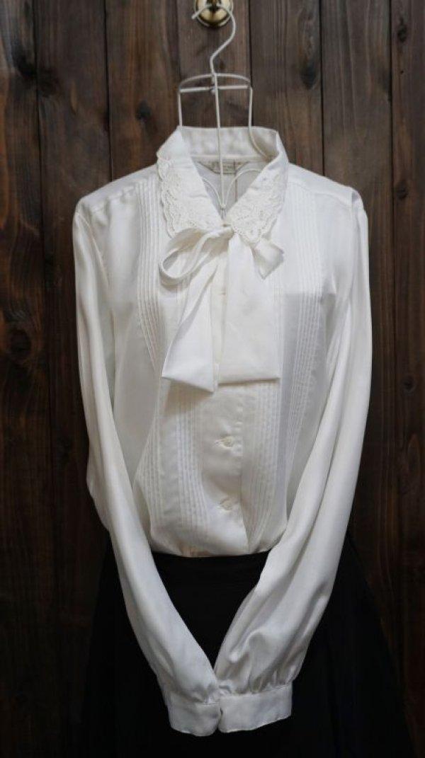 画像1: 白長袖 ブラウス スカラップカラー リボン[15668]