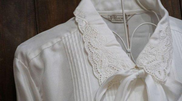 画像3: 白長袖 ブラウス スカラップカラー リボン[15668]
