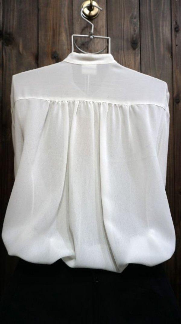 画像3: 白 長袖 ブラウス スタンドカラー[15696]