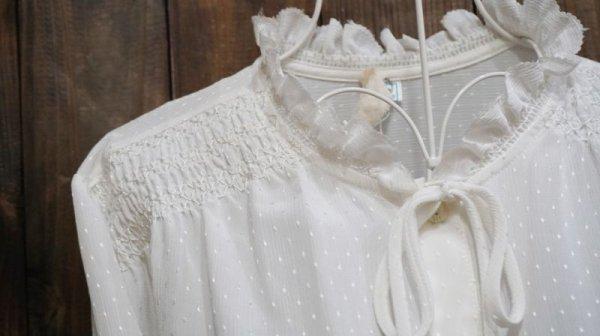 画像3: 白 長袖ブラウス フリルカラー [15731]