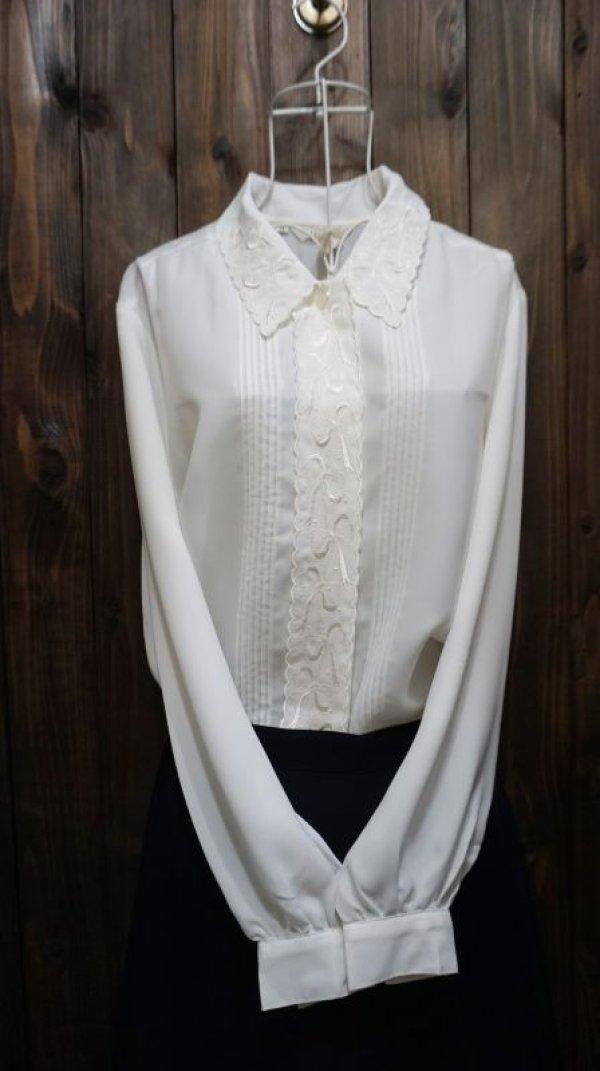 画像1: 白 長袖ブラウス スカラップカラー [15763]