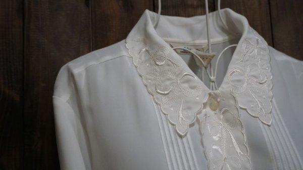 画像3: 白 長袖ブラウス スカラップカラー [15763]