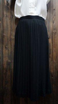 無地 黒 アコーディオン プリーツ スカート/w60cm [41736]