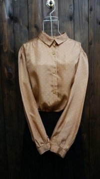 ドット柄 ブラウン×ブルー 長袖 ブラウス レギュラーカラー[15890]