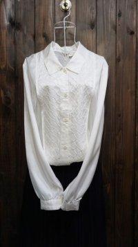 白 長袖 ブラウス レギュラーカラー 刺繍[15900]