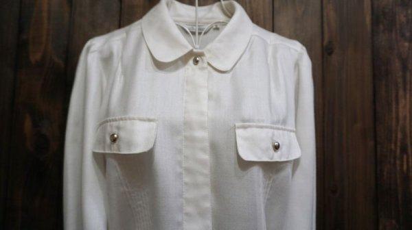 画像3: 白 長袖 ブラウス フラップ[15899]