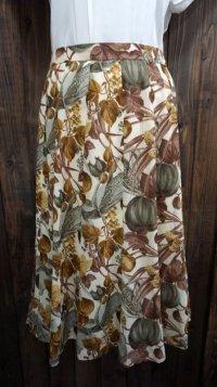 花柄 ブラウン レトロスカート /w66cm [41829]