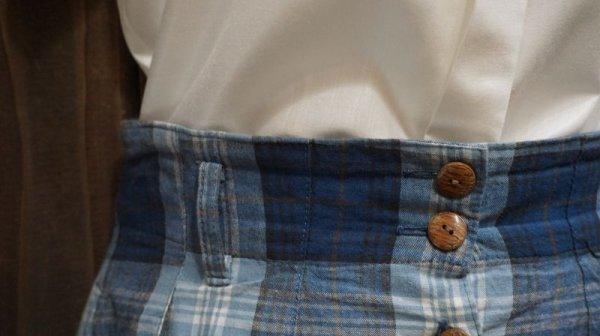 画像3: チェック柄 ブルー レトロスカート /w66cm [41854]