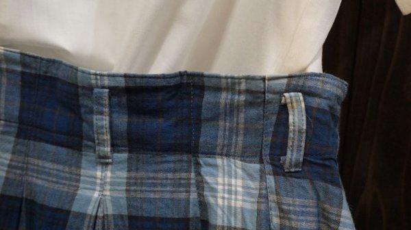 画像4: チェック柄 ブルー レトロスカート /w66cm [41854]