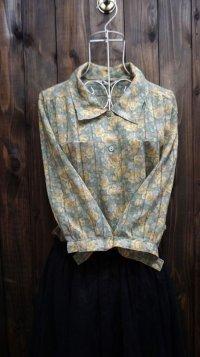 花柄 半袖 ブラウス 丸襟[15936]