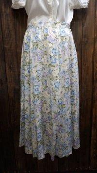 花柄  水色系 スカート /w68cm[41915]