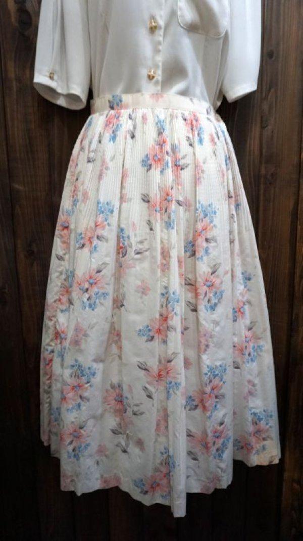 画像1: 花柄 ピンク コットン スカート /w58cm[41933]