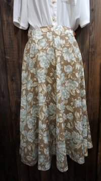 花柄 ローズ柄 ブラウン系 スカート /w66cm[41938]