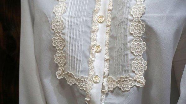 画像3: 白 長袖 ブラウス 丸襟[15969]