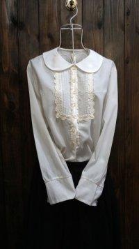 白 長袖 ブラウス 丸襟[15969]