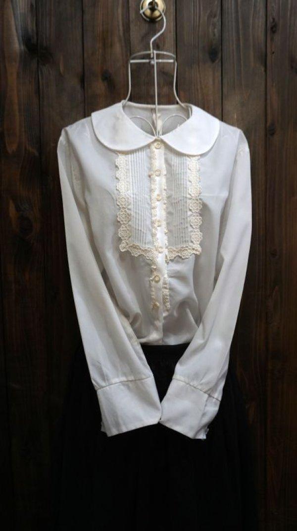 画像1: 白 長袖 ブラウス 丸襟[15969]