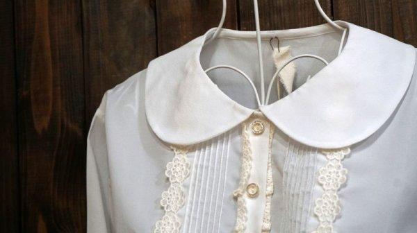 画像4: 白 長袖 ブラウス 丸襟[15969]